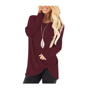 Wine Red Comfy Casual Twist Knot Blouses